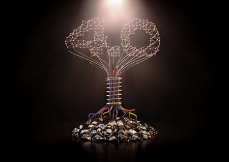 A concept futuristic tree made of insulated copper wire and the number 4.0 in a plexus design depictiong the 4th industrial revolution - 3D render