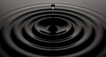 A close up of a drop of velvety black liquid creating perfect circular ripples on an isolated background - 3D render