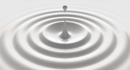 A close up of a drop of velvety white liquid creating perfect circular ripples on an isolated background - 3D render