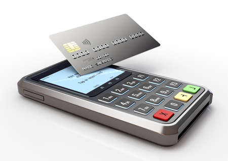 A portable handheld debit card machine with a bank card tapping the screen and transacting on an isolated white studio background - 3D render Stock fotó
