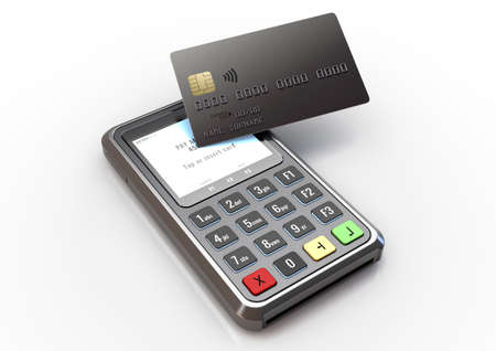 A portable handheld debit card machine with a bank card tapping the screen and transacting on an isolated white studio background - 3D render