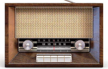 A concept vintage radio from the seventies made of speaker cloth chrome and wood on an isolated white studio background - 3D render