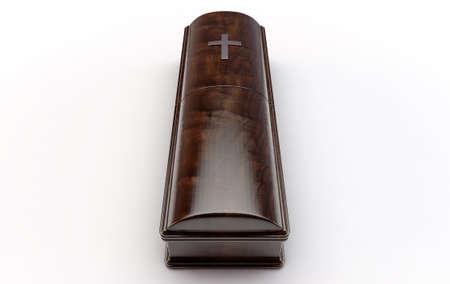 Ein dunkler moderner Holzsarg mit Chromgriffen und einem Kruzifix auf einem isolierten weißen Studiohintergrund - 3D-Rendering Standard-Bild