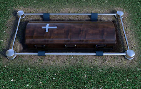 A modern wooden coffin at a funeral being lowered into a grave with a lowering mechanism a dirt and grass background - 3D Render Stockfoto
