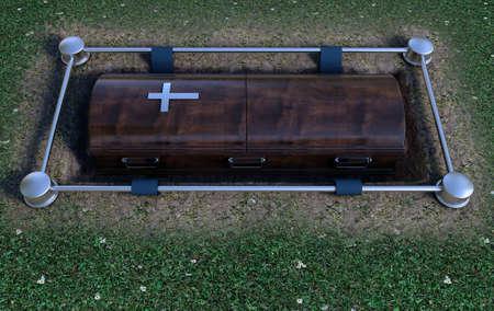 Ein moderner Holzsarg bei einer Beerdigung, der mit einem Absenkmechanismus und einem Schmutz- und Grashintergrund in ein Grab abgesenkt wird - 3D-Rendering
