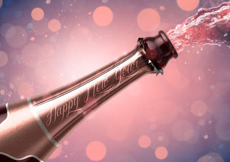 An opening bottle of champagne with the words happy new year and liquid pouring out on a glitsy bokeh background- 3D render