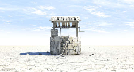 A rundown water well and bucket attached to a rope in a flat waterless landscape on a blue sky background - 3D render