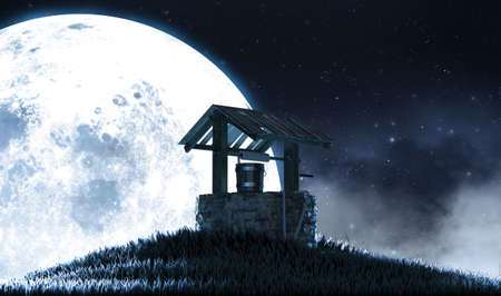A concept image showing an old wishing well on a grassy hill at night in front of a full moon and starry night background - 3D render