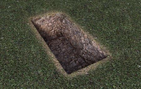 Una tumba vacía abierta excavada en un campo de hierba verde - 3D Render Foto de archivo