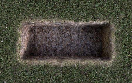An open empty grave dug out of a field of green grass - 3D Render