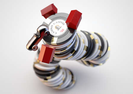 A concept  of a falling stack of casino chips with house and car tokens perched on top an isolated white studio background - 3D render