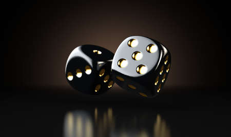 A set of two reflective black casino dice with gold markings floating in the air on a dark classy background - 3D render Reklamní fotografie