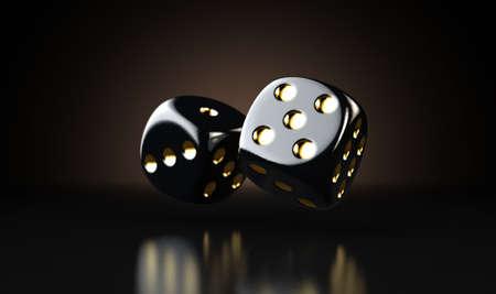 Ein Satz von zwei reflektierenden schwarzen Casino-Würfeln mit goldenen Markierungen, die auf einem dunklen, edlen Hintergrund in der Luft schweben - 3D-Rendering Standard-Bild