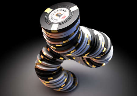 A falling stack of black and white casino chips with gold detail on an isolated dark studio background - 3D render Reklamní fotografie