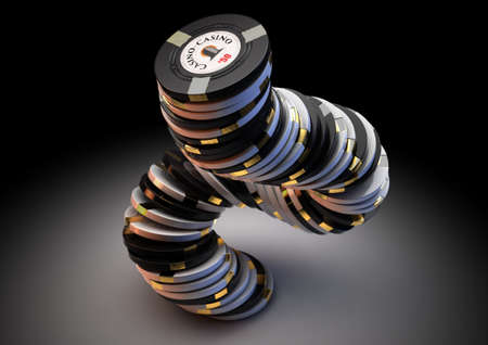 A falling stack of black and white casino chips with gold detail on an isolated dark studio background - 3D render
