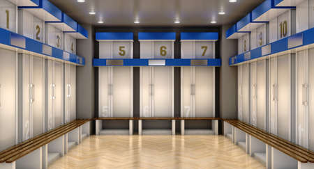A sports locker room made of cubicles with cupboards numbered shirts a wooden bench and flooring - 3D render