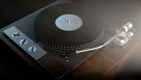 A vintage unbranded turntable record player on a moody backlit dark background - 3D render Banque d'images