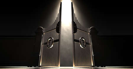 The pearly gates of heaven spotlit from above by an ethereal light on a dark moody background - 3D render Standard-Bild