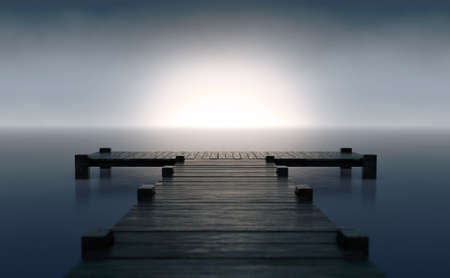 A wooden boat jetty jutting out across calm water with the sun rising on the horizon in dim light - 3D render