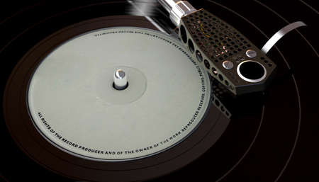 A vintage unbranded turntable playing a generic vinyl record on a moody backlit dark background - 3D render