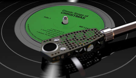 A vintage unbranded turntable playing a a christmas themed vinyl record on a moody backlit dark background - 3D render