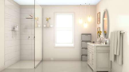 Un interior de un moderno cuarto de baño con paredes de color crema pálido, un tocador de ducha y un espejo y una ventana retroiluminada iluminada por el sol de la mañana - 3D Render Foto de archivo