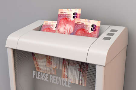 A regular office paper shredder in the process of shredding three south african rand bank notes on an isolated background - 3D render Stock Photo