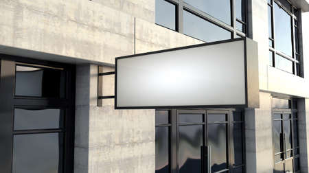 A rectangular lightbox sign mounted outside a generic unbranded shop facade on the high street in the daytime - 3D render