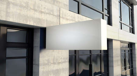 A frameless rectangular lightbox sign mounted outside a generic unbranded shop facade on the high street in the daytime - 3D render