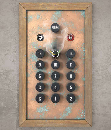 A concept showing an old retro elevator control panel with a missing, smoking and broken thirteenth floor - 3D render