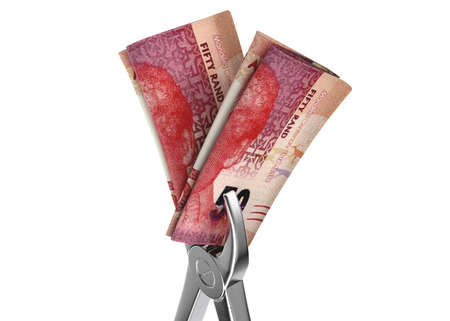 A pair of medical pliers gripping a rolled up pair of south african rand bank notes on an isolated white studio background - 3D render