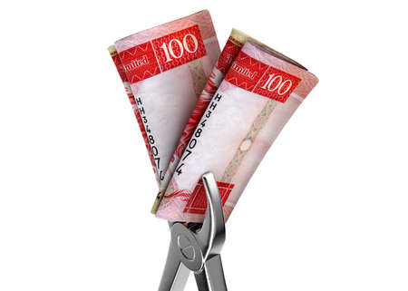 A pair of medical pliers gripping a rolled up pair of hong kong dollar bank notes on an isolated white studio background - 3D render Foto de archivo