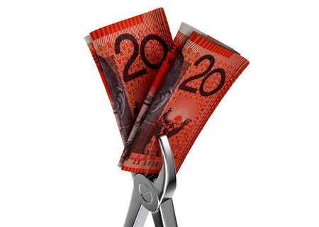 A pair of medical pliers gripping a rolled up pair of australian dollar bank notes on an isolated white studio background - 3D render