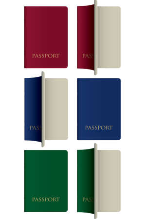 A vector illustration of various color generic passports closed and open on an isolated white background