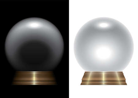 A vector illustration of a regular crystal ball on an isolated studio background