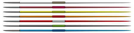 A vector illustration of various color combinations of regular athletics javelins on an isolated white background