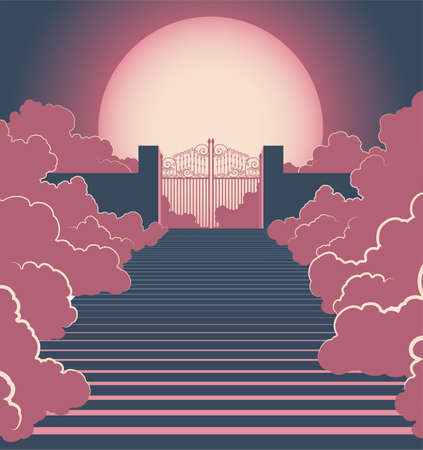 A vector illustration concept depicting the majestic pearly gates of heaven surrounded by clouds and the staircase leading up to them on a moonlit background