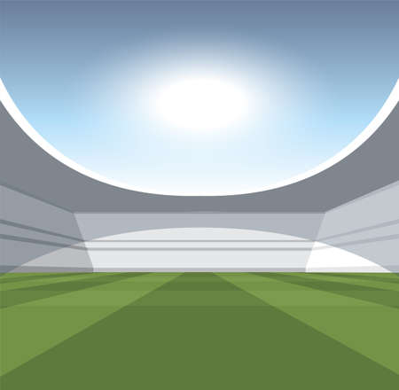 A vector illustartion of a generic seated stadium with a green grass pitch in the day time under a blue cloudy sky Illustration