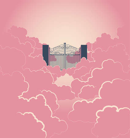 A vector illustration of a concept depicting the majestic pearly gates of heaven surrounded by clouds Illustration