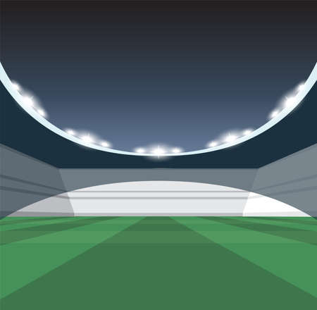 A vector illustration of a generic seated stadium with a green grass pitch at night under illuminated floodlights Illustration