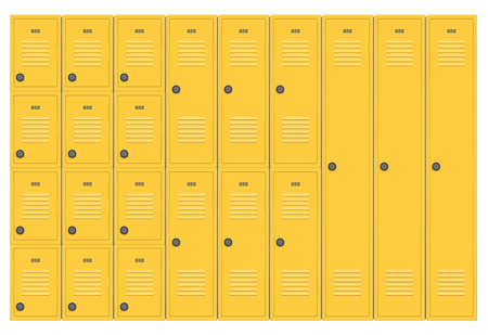 A flat stack of various sized modular yellow school lockers