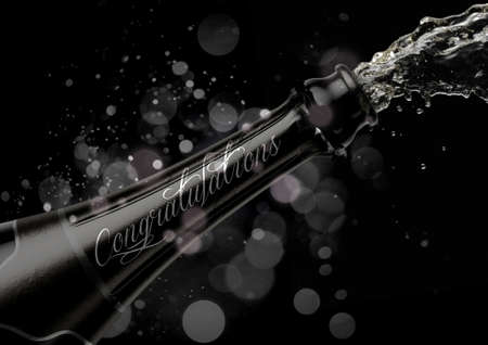 An opening bottle of champagne with the word congratulations and liquid pouring out on a glitsy bokeh background- 3D render