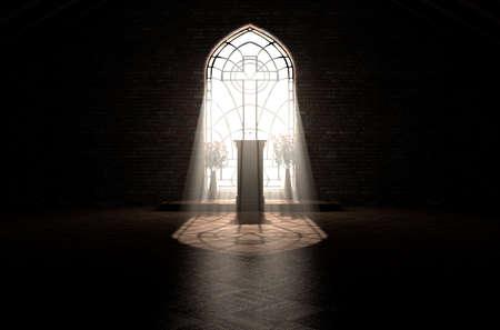 Un intérieur sombre de l'église éclairé par les rayons du soleil pénétrant à travers une fenêtre en verre dans le modèle d'un crucifix brillant sur une chaire de discours - rendu 3D