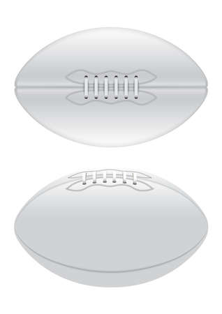 A vector illustration of a plain white rugby ball with laces in on a isolated white background