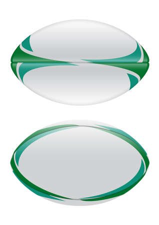 A vector illustration of a plain white rugby ball with green design elements in on a isolated white background