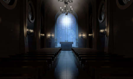 A dark church interior lit by suns rays through a crucifix stained glass window lighting the altar - 3D render Stock Photo