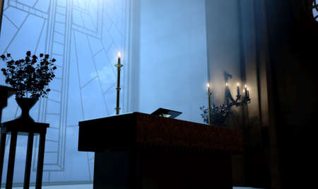 A dark church interior lit by suns rays through a crucifix stained glass window lighting the altar - 3D render