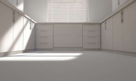 A look across a white washed kitchen with cupboards and light coming through a blinded window - 3D render Banque d'images