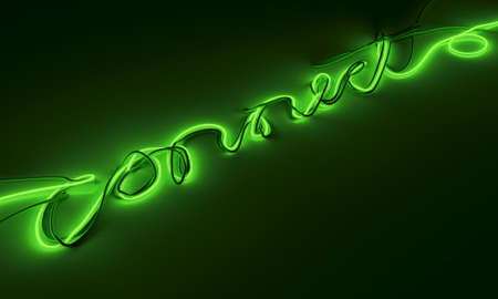 A collection of cables draped together to form the word connect with one green strand illuminated them all on an isolated background - 3D render