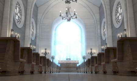 A light church interior lit by suns rays through a crucifix stained glass window lighting the altar - 3D render Stock Photo